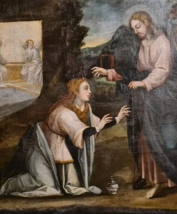 Santa Bárbara Pintura antes do tratamento